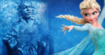Elsa from Disney's Frozen casts a spell on Han Solo frozen in Carbonite