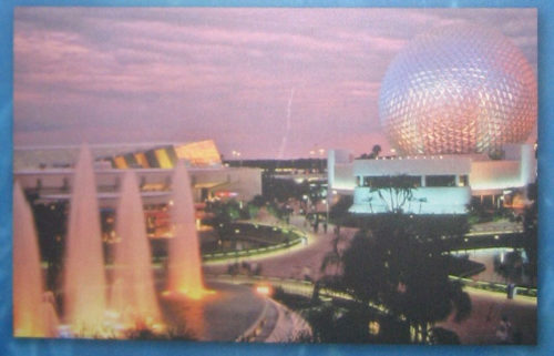 A flipped picture of Universe of Energy and Spaceship Earth in the Epcot Timeline mural