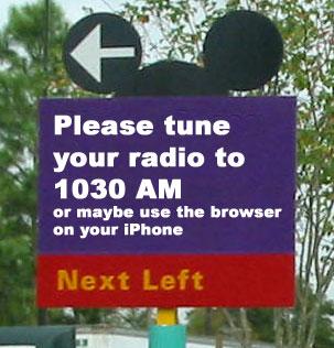 Walt Disney World Radio Station as it appears on road signs