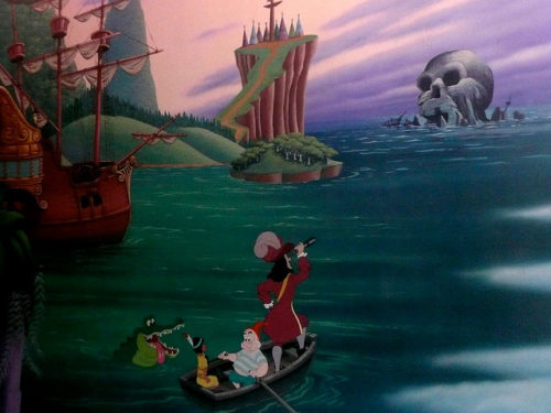 Loading area mural from Disneyland's Peter Pan's Flight
