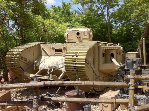 Refurbished Indiana Jones tank outside the Hollywood Studios stunt spectacular