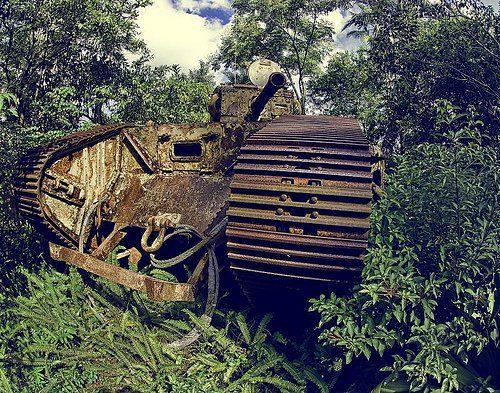 Rusted out Indiana Jones tank prop at Disney's Hollywood Studios