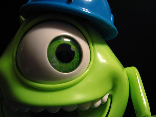 Mike Wazowski showcases the famous Pixar Eyes look