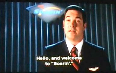 Flight attendant Patrick Warburton in the Soarin' preshow