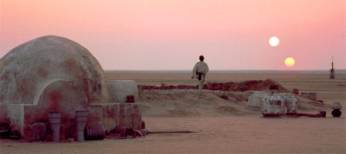 Tatooine binary sunset from Star Wars
