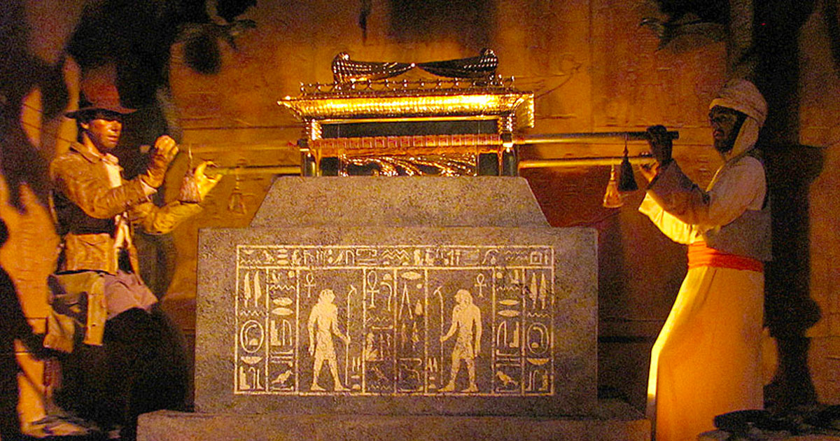 Indiana Jones and Sallah retrieve the Lost Ark of the Covenant from the Well of Souls in the Great Movie Ride