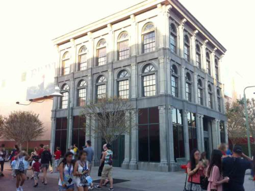 A terrifically boring office facade on the backside of Pixar Place at Disney's Hollywood Studios