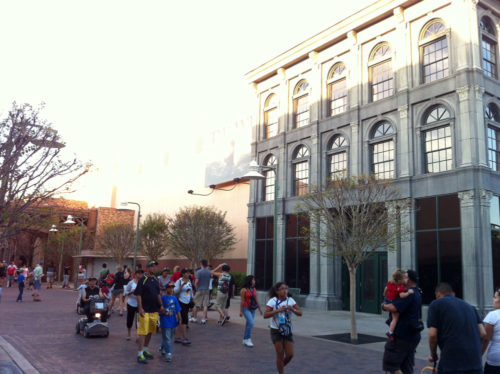 Pixar Place has a boring office facade at the end of the street.