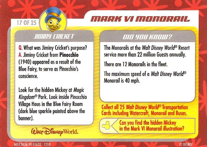 Fun facts about both monorails AND crickets! And a hidden mickey, for you hidden mickey freaks! Did you find it?