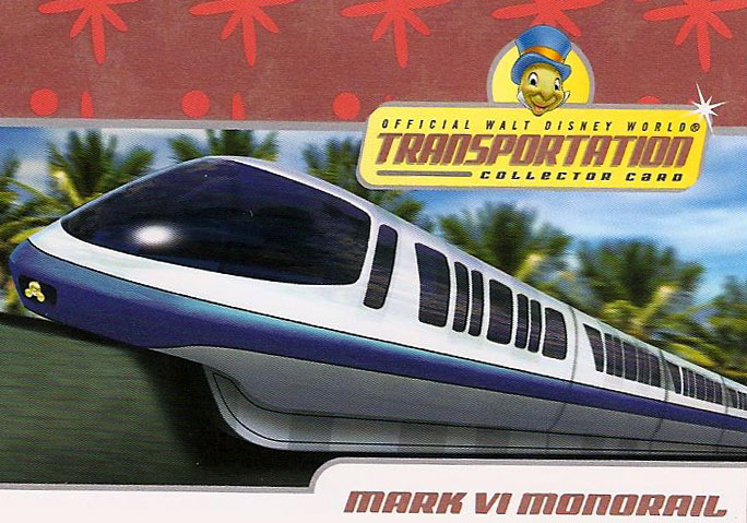 Walt Disney World Transporation Collector Card for the Monorail