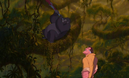 "The scene where the gorillas got Clayton's jeep to ""turn over"" was cut from the film."