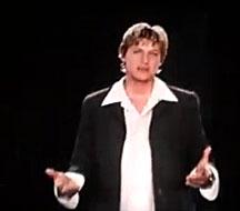 Ellen DeGeneres in the Ellen's Energy Adventure preshow