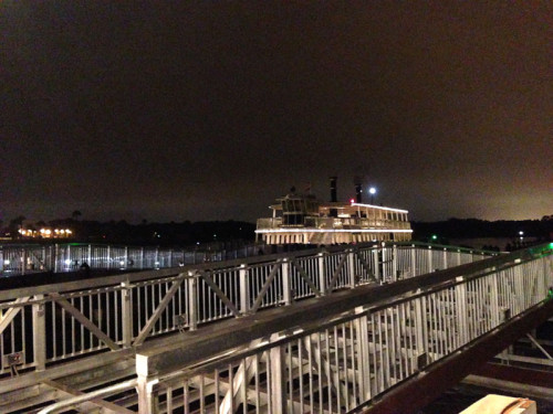 The new dock, still under construction at Magic Kingdom. The ferry in the distance is docking at the original dock.