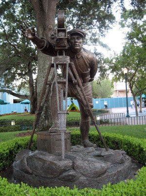 Statue of a movie director at the end of Hollywood Boulevard at Disney's Hollywood Studios