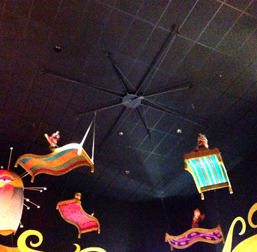 Low tech special effects create magic carpets in it's a small world