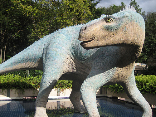 There's absolutely indication anywhere on the ride that this Iguanadon's name is Aladar