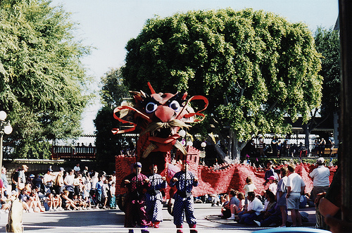 From the daytime incarnation. I'm kind of impressed that it took Disney this long to get a Chinese dragon into a parade.