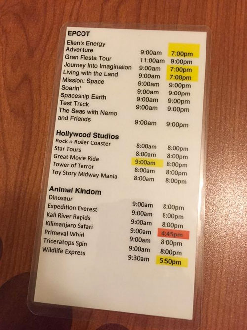 One of the many ride sheets we had. This one focused on ride opening/closing times