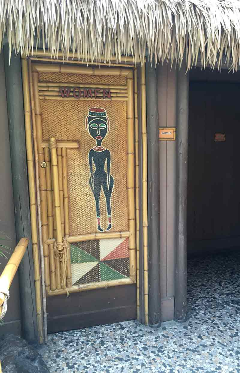 Secret hidden woman's bathroom at Tiki Room in Disneyland Disneyland Secret Luxuries