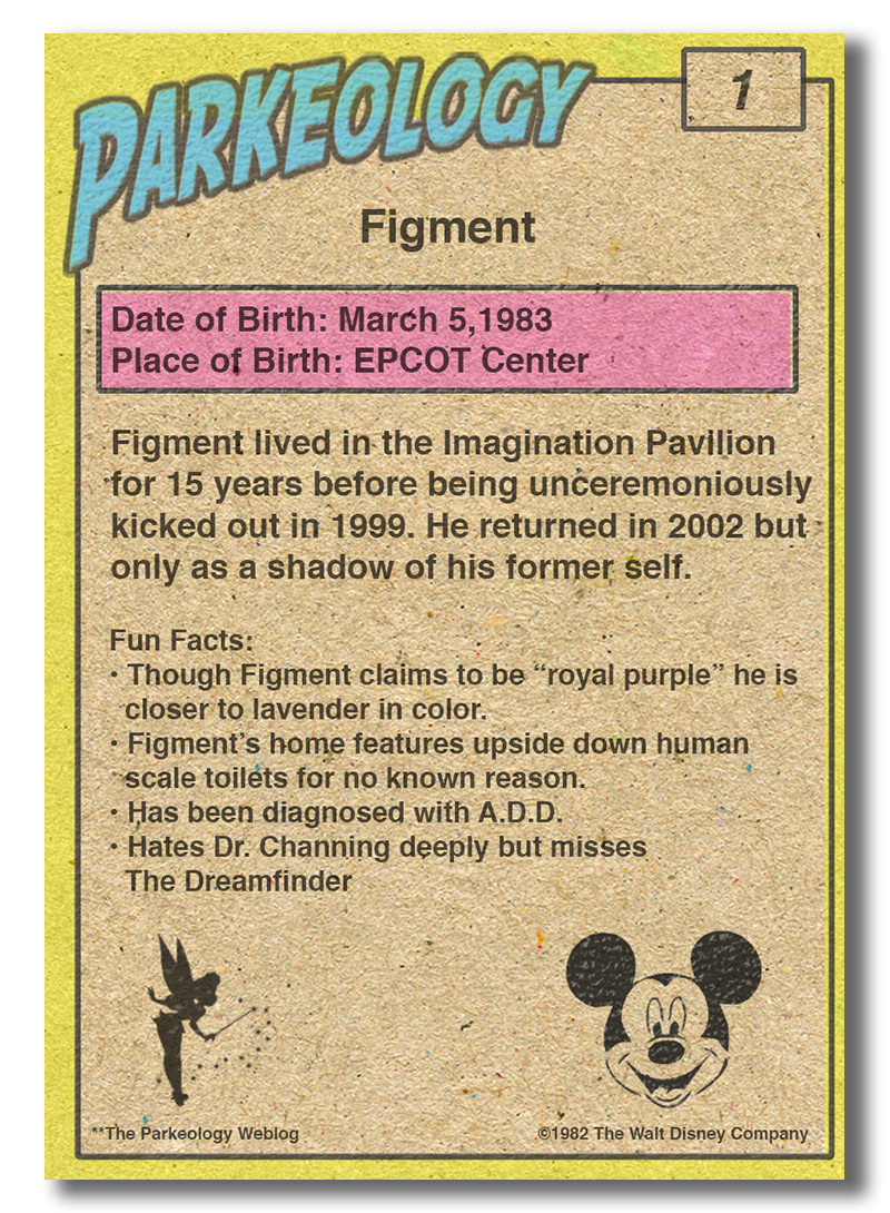 Parkeology vintage theme park trading cards Figment