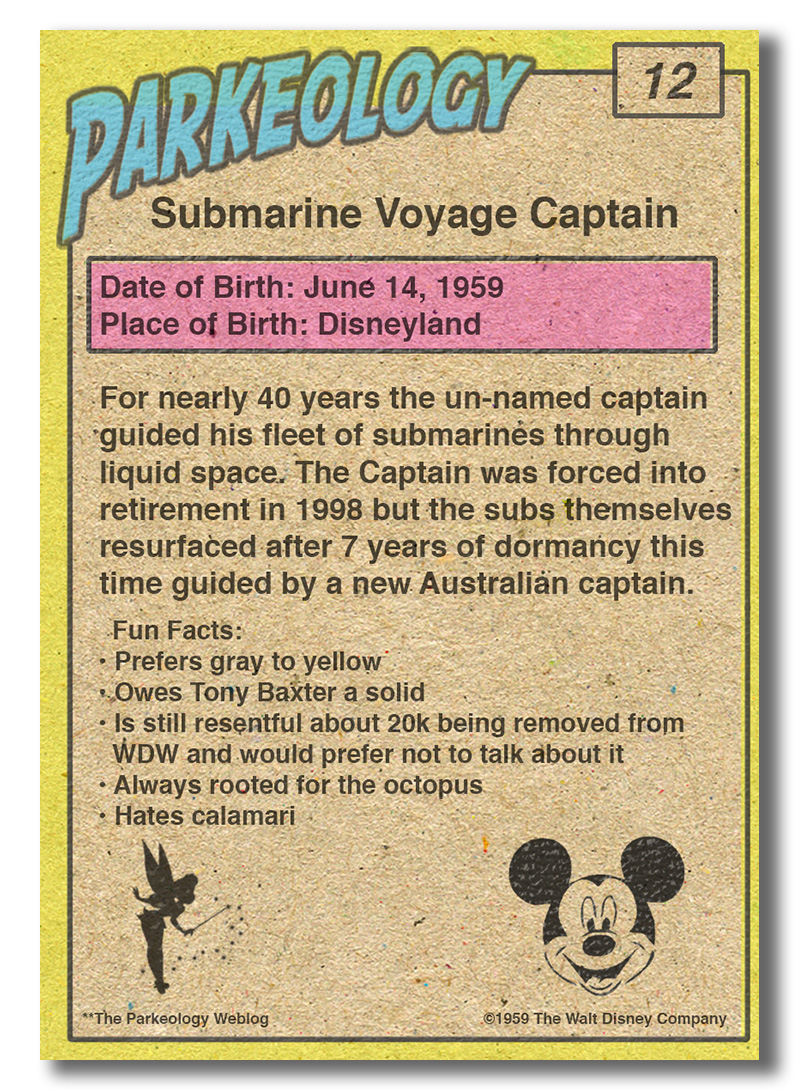 Parkeology vintage theme park trading cards Submarine Captain