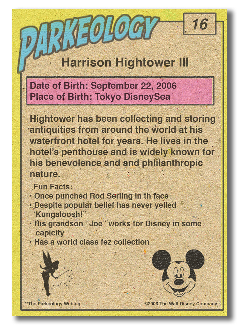 50 greatest park characters trading cards Harrison Hightower Back
