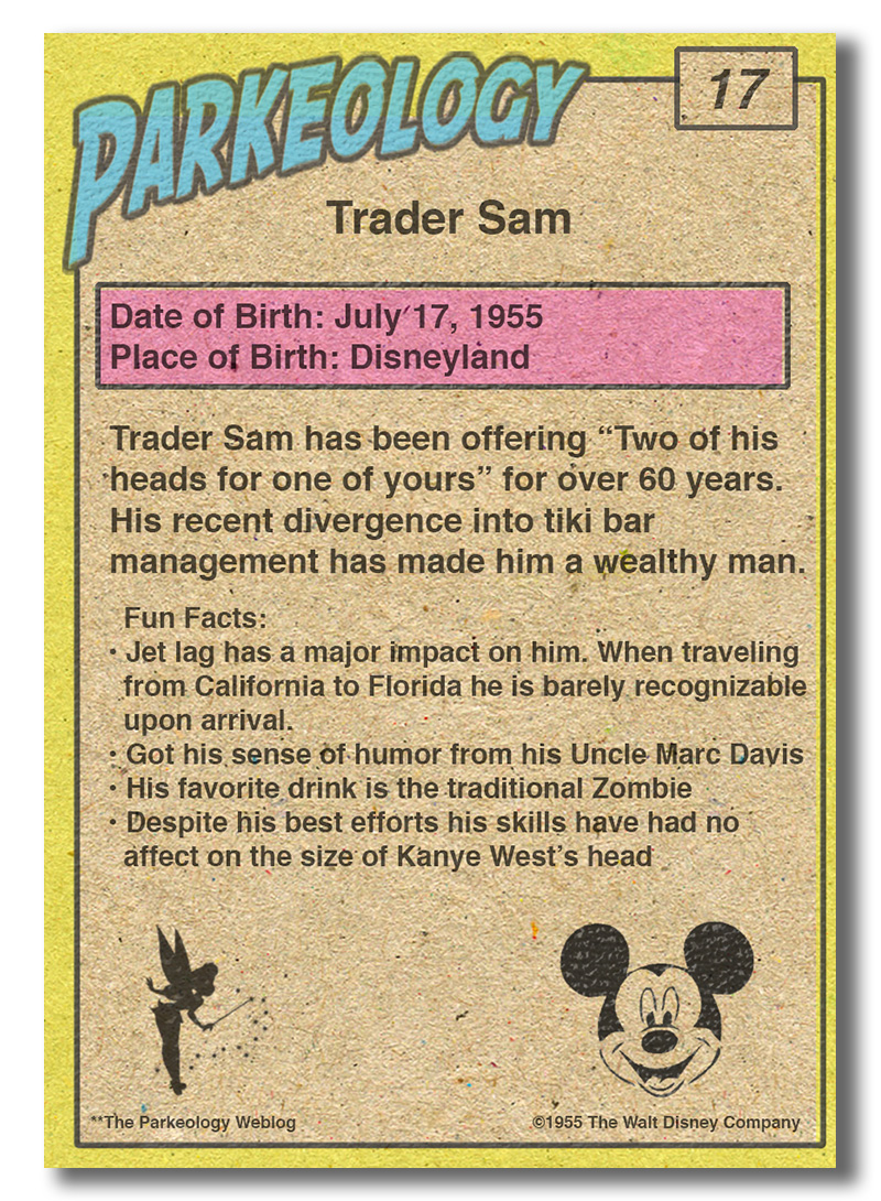 50 greatest park characters trading cards Trader Same Back