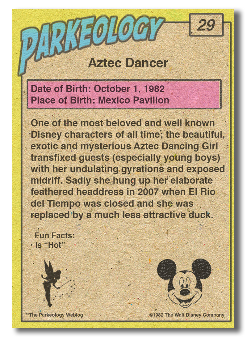 50 greatest park characters trading cards Aztec Dancer Back