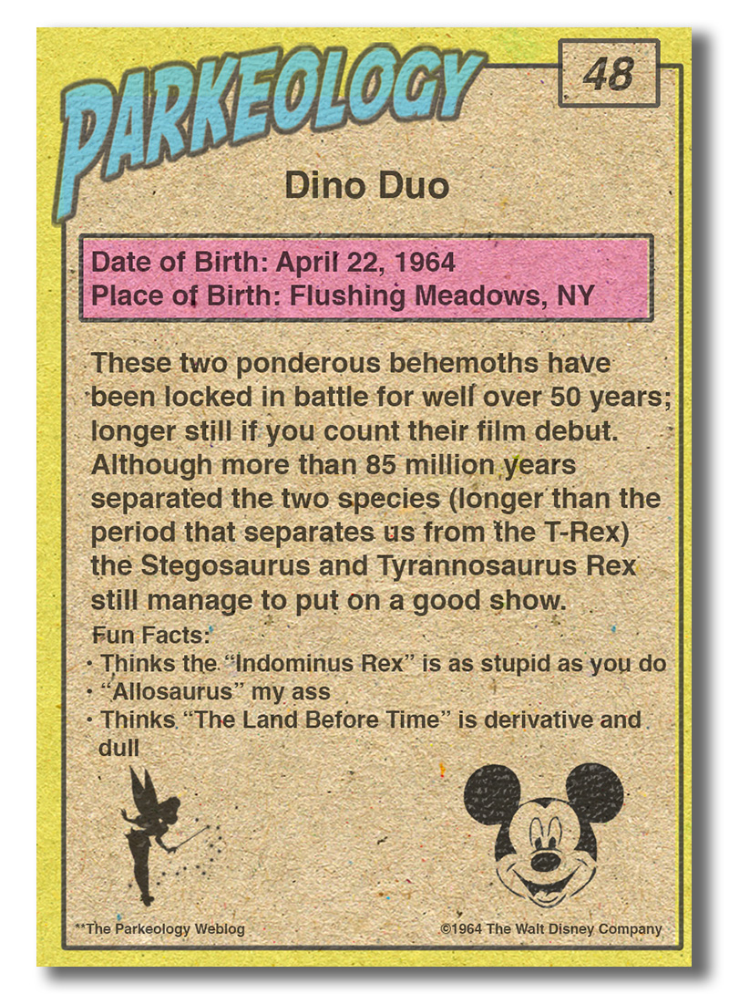 50 greatest park characters trading cards T-Rex back