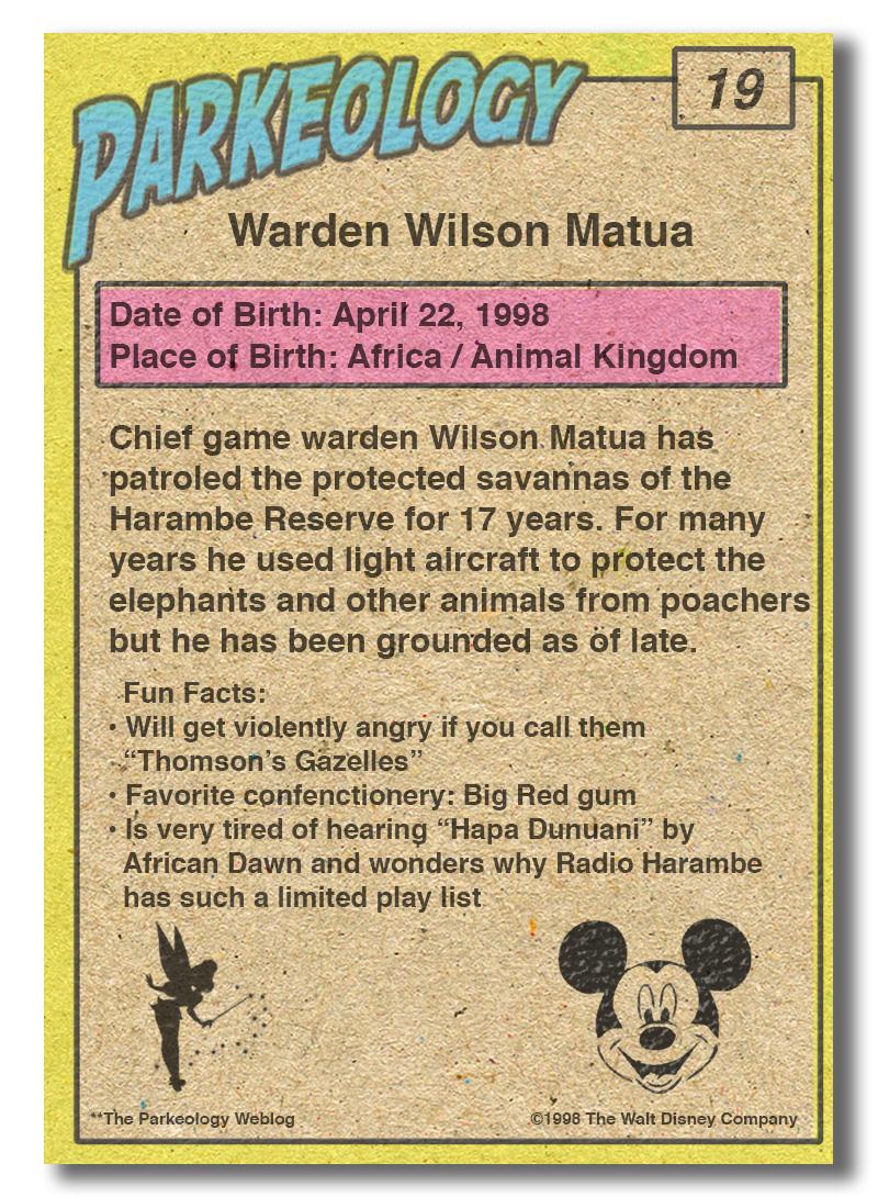 50 Greatest Park Characters-Warden-Wilson-Matua-Back