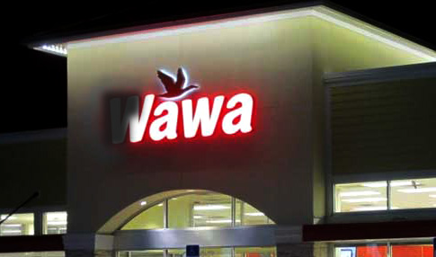 Wawa sign with light burned out to make it read Jawa