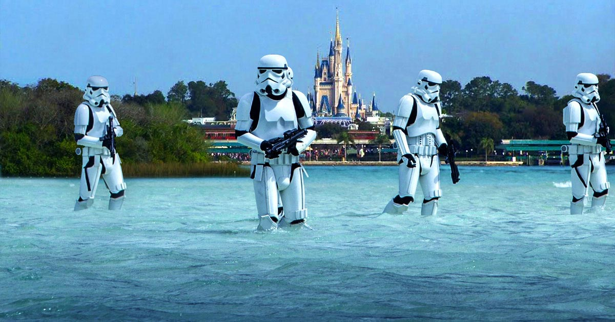 Rogue One Stormtroopers on the Magic Kingdom Beach
