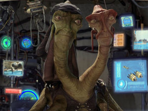 Two-headed pod race announcers in the Phantom Menace
