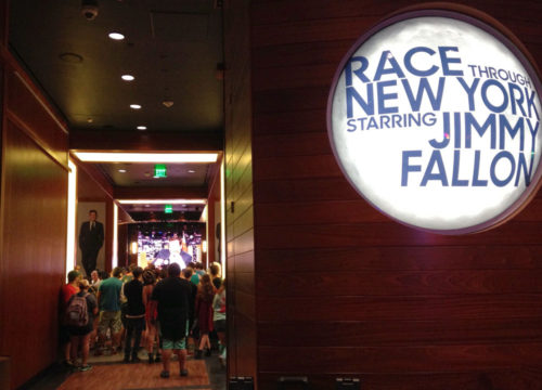 Waiting area on the second floor of the Jimmy Fallon ride