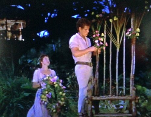 Fritz decorates the bamboo chair before the Swiss Family Robinson animal race