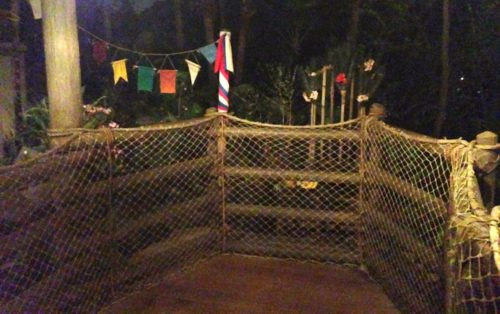 Swiss Family Treehouse Wheelchair Waiting Area with Race Finish line and bamboo chair