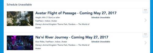 Pandora Rides Schedule