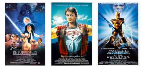 Movie posters for Return of the Jedi, Teen Wolf, and Masters of the Universe