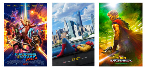 Marvel Cinematic Universe movie posters for 2017: Spider-Man Homecoming, Guardians of the Galaxy Volume 2, and Thor Ragnarok