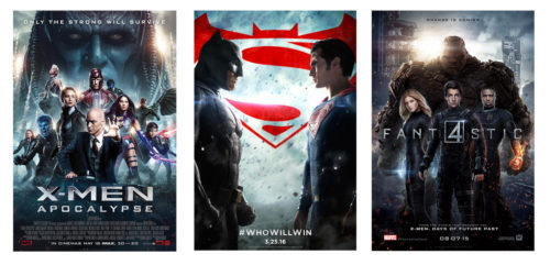 Non MCU movie posters for X-Men Apocalypse, Batman vs Superman, and Fantastic Four