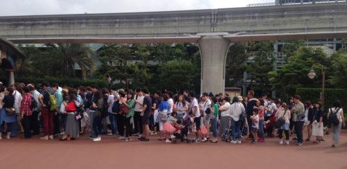 Line for Tokyo Disneyland rope drop