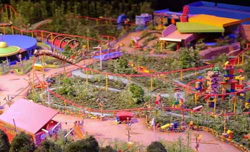 Toy Story Land model made out of Tinker Toys