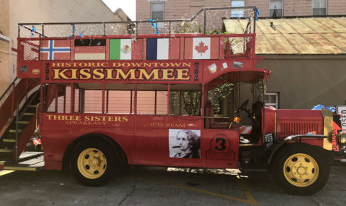 Epcot double-decker bus now used in Historic Downtown Kissimmee
