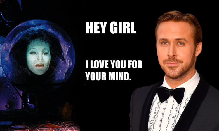 Ryan Gosling and Madame Leota of the Haunted Mansion