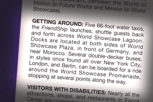 Excerpt from Birnbaum's Guide to Walt Disney World talking about Epcot double-decker bus