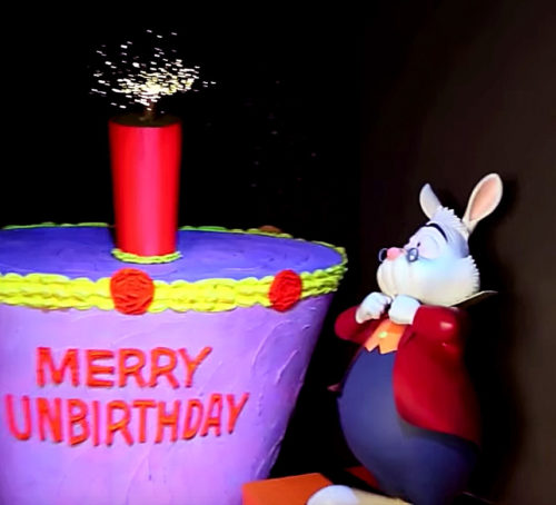 Disneyland's Alice in Wonderland dark ride dynamites the White Rabbit in an Unbirthday Cake