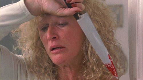 Glenn Close as Alex Forrest in Fatal Attraction, holding a bloody knife
