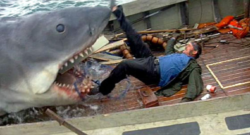 Jaws eating Quint