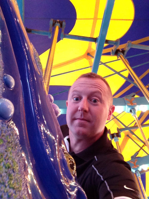 Shane on King Triton's Carousel of the Sea purple whale