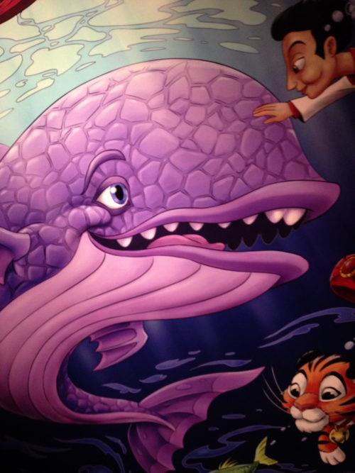 Sinbad's Storybook Voyage purple whale mural at Tokyo DisneySea